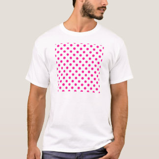 Polka Dots Large - Deep Pink on White T-Shirt