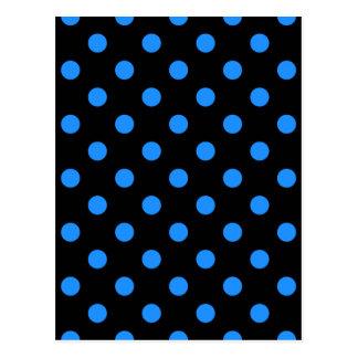 Polka Dots Large - Dodger Blue on Black Post Card