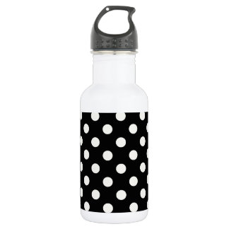 Polka Dots Large - Eggshell on Black Stainless Steel Water Bottle