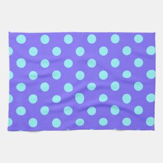 Polka Dots Large - Electric Blue on Violet Kitchen Towel