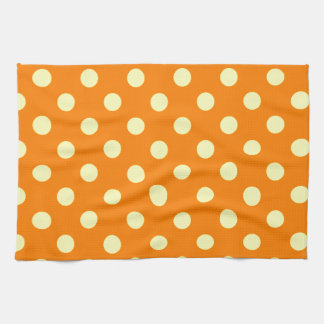 Polka Dots Large - Electric Yellow on Orange Towels