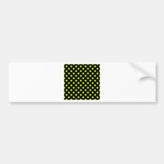 Polka Dots Large - Fluorescent Yellow on Black Bumper Sticker