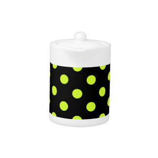 Polka Dots Large - Fluorescent Yellow on Black