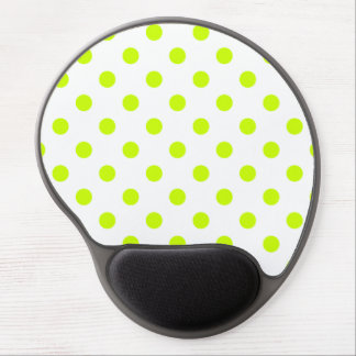 Polka Dots Large - Fluorescent Yellow on White Gel Mouse Pads