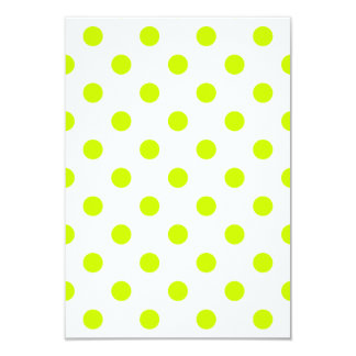 Polka Dots Large - Fluorescent Yellow on White 3.5x5 Paper Invitation Card
