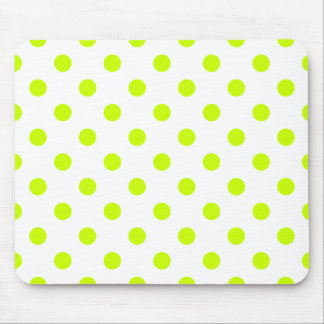 Polka Dots Large - Fluorescent Yellow on White Mousepads