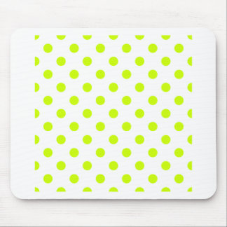Polka Dots Large - Fluorescent Yellow on White Mousepad
