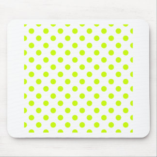 Polka Dots Large - Fluorescent Yellow on White Mouse Pads