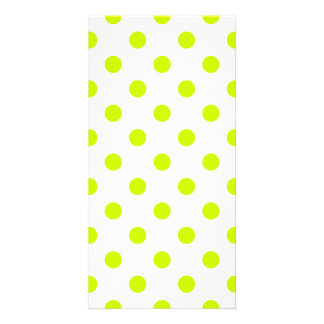 Polka Dots Large - Fluorescent Yellow on White Photo Card
