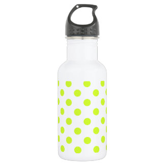 Polka Dots Large - Fluorescent Yellow on White Water Bottle