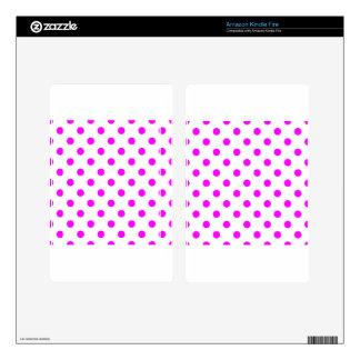 Polka Dots Large - Fuchsia on White Kindle Fire Skin