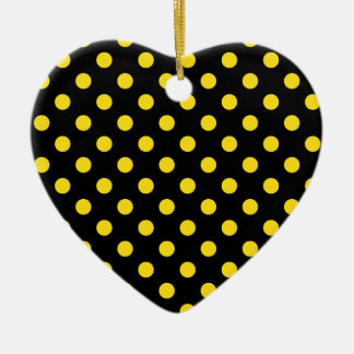 Polka Dots Large - Golden Yellow on Black Double-Sided Heart Ceramic Christmas Ornament