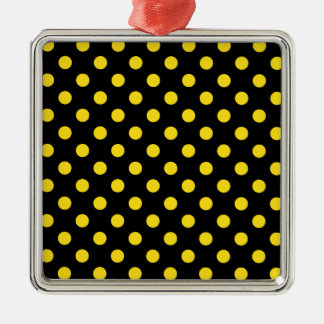 Polka Dots Large - Golden Yellow on Black Square Metal Christmas Ornament