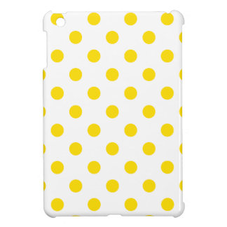 Polka Dots Large - Golden Yellow on White Cover For The iPad Mini