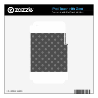 Polka Dots Large - Gray on Dark Gray iPod Touch 4G Skins