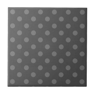 Polka Dots Large - Gray on Dark Gray Small Square Tile