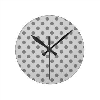 Polka Dots Large - Gray on Light Gray Round Clock