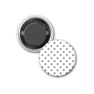 Polka Dots Large - Gray on White 1 Inch Round Magnet