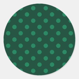 Polka Dots Large - Green on Dark Green Classic Round Sticker