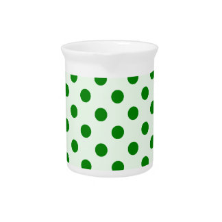 Polka Dots Large - Green on Offwhitegreen Beverage Pitcher