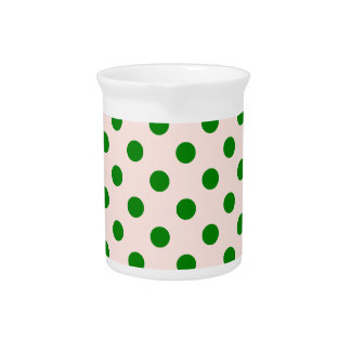 Polka Dots Large - Green on Pink Drink Pitcher