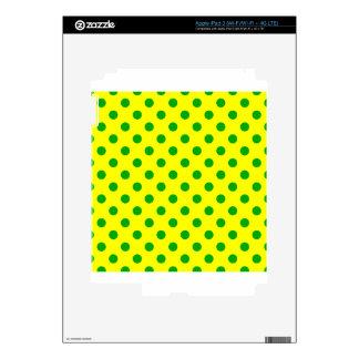 Polka Dots Large - Green on Yellow iPad 3 Decals