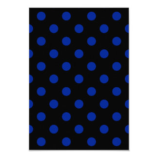 Polka Dots Large - Imperial Blue on Black 3.5x5 Paper Invitation Card