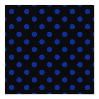 Polka Dots Large - Imperial Blue on Black 5.25x5.25 Square Paper Invitation Card