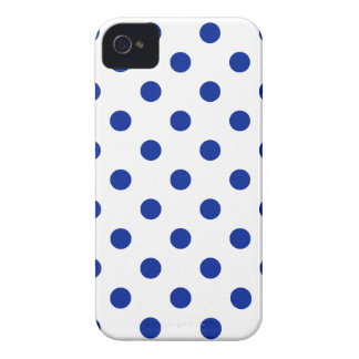 Polka Dots Large - Imperial Blue on White Case-Mate iPhone 4 Cases