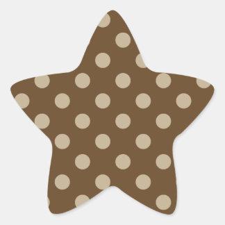 Polka Dots Large - Khaki on Dark Brown Star Sticker