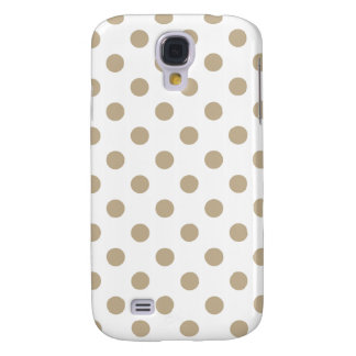 Polka Dots Large - Khaki on White Galaxy S4 Case