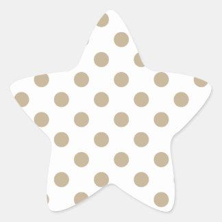 Polka Dots Large - Khaki on White Star Stickers