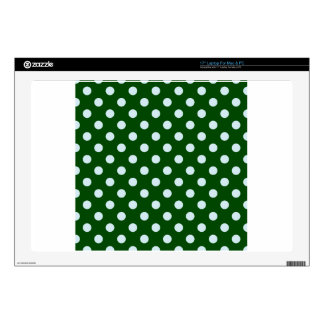 "Polka Dots Large - Light Blue on Dark Green Skins For 17"" Laptops"