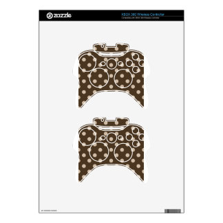 Polka Dots Large - Light Brown on Dark Brown Xbox 360 Controller Skin