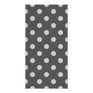 Polka Dots Large - Light Gray on Dark Gray Card