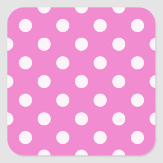 Polka Dots Large - Light Pink on Dark Pink Square Stickers