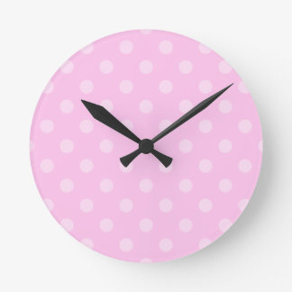 Polka Dots Large - Light Pink on Pink Round Clock