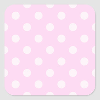 Polka Dots Large - Light Pink on Pink Square Stickers