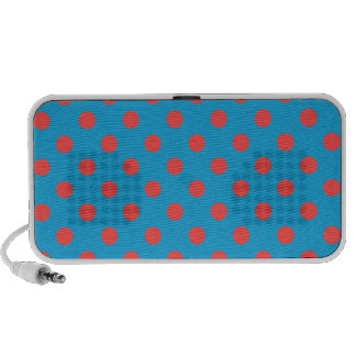 Polka Dots Large - Light Red on Light Blue Speaker