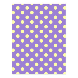 Polka Dots Large - Light Yellow on Light Violet Postcard