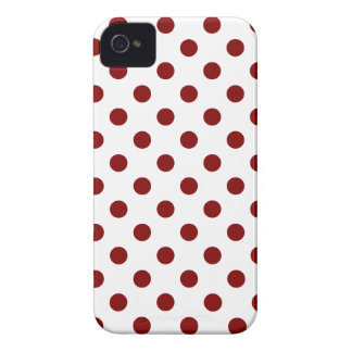 Polka Dots Large - Maroon on White iPhone 4 Cover