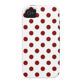 Polka Dots Large - Maroon on White Case-Mate iPhone 4 Cases