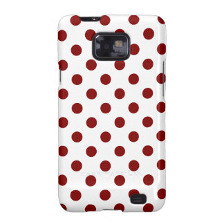 Polka Dots Large - Maroon on White Galaxy SII Covers