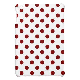 Polka Dots Large - Maroon on White iPad Mini Cover