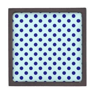 Polka Dots Large - Navy Blue on Pale Blue Premium Trinket Box