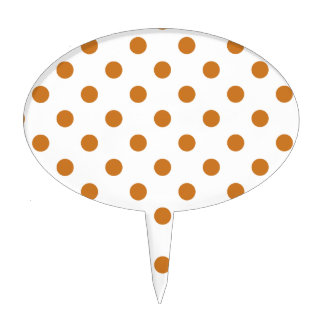 Polka Dots Large - Ochre on White Cake Toppers