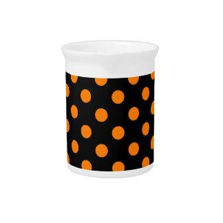 Polka Dots Large - Orange on Black Beverage Pitchers