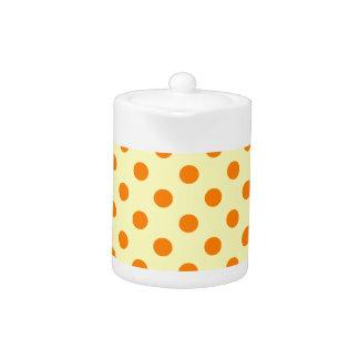 Polka Dots Large - Orange on Electric Yellow
