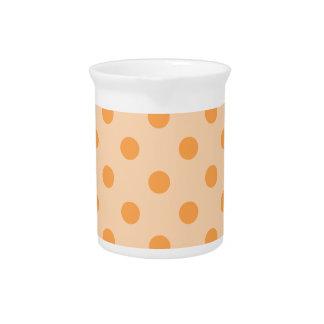 Polka Dots Large - Orange on Light Orange Drink Pitcher