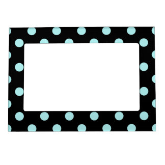 Polka Dots Large - Pale Blue on Black Picture Frame Magnet